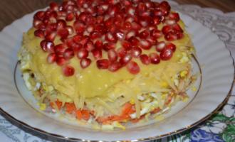 салат с гранатом и яблоком красная шапочка