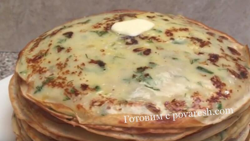 блины с сыром и зеленью на кефире