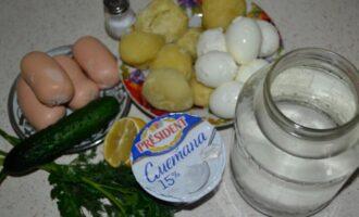 Окрошка на сметане и воде с соком лимона