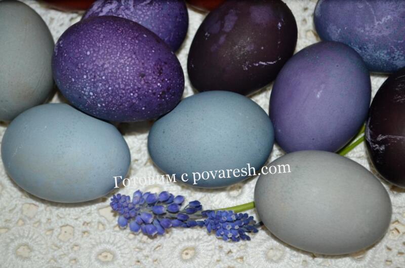 Как покрасить яйца на Пасху черникой