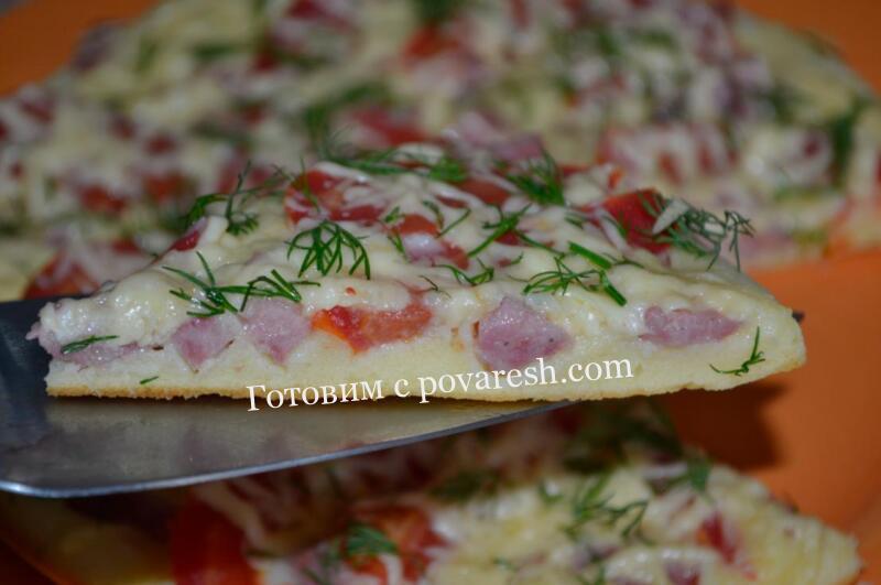 пицца на сковороде со сметаной и майонезом
