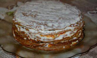 Печеночный торт из куриной печени с морковью и луком