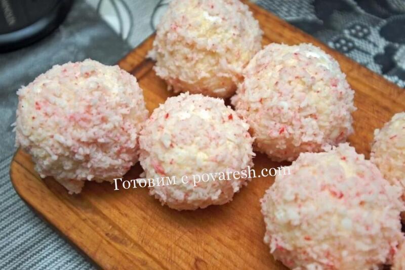 сырная закуска рафаэлло с крабовыми палочками