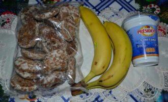 торт из пряников со сметаной и бананами