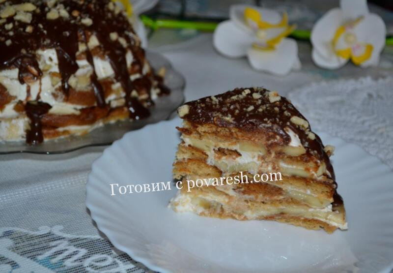 торт из пряников со сметаной и бананами рецепт