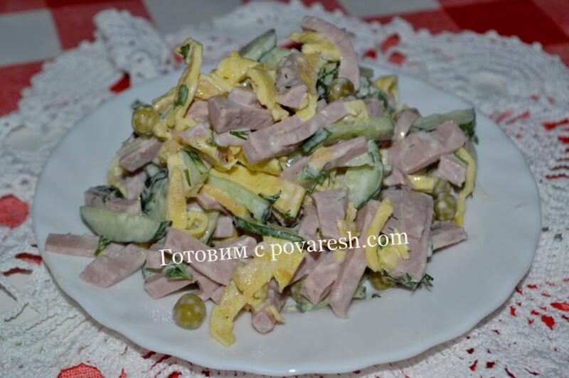 салат с яичными блинчиками и колбасой рецепт