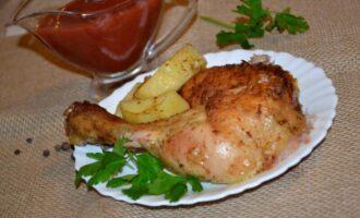 курица целиком с картошкой в духовке под фольгой