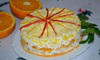 слоеный салат с курицей и апельсинами