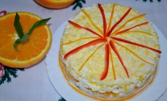 слоеный салат с курицей и апельсинами рецепт