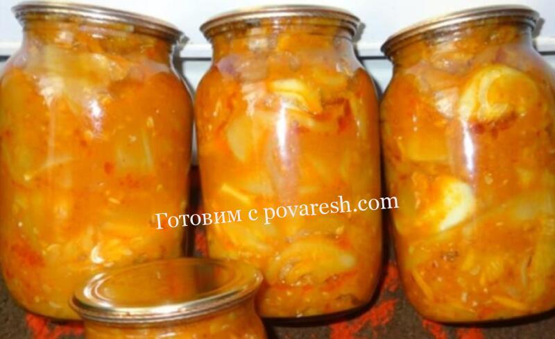 Тещин язык из кабачков с морковью и помидорами