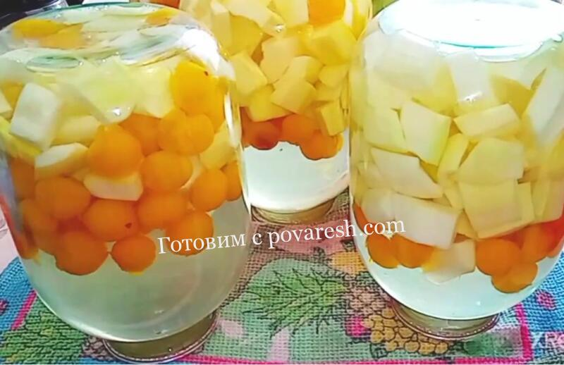 компот из кабачков и алычи со вкусом ананаса