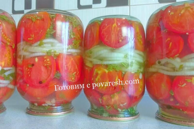 помидоры дольками с луком и петрушкой на зиму