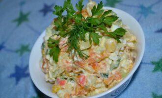 Салат из крабовых палочек с морковью и яйцом